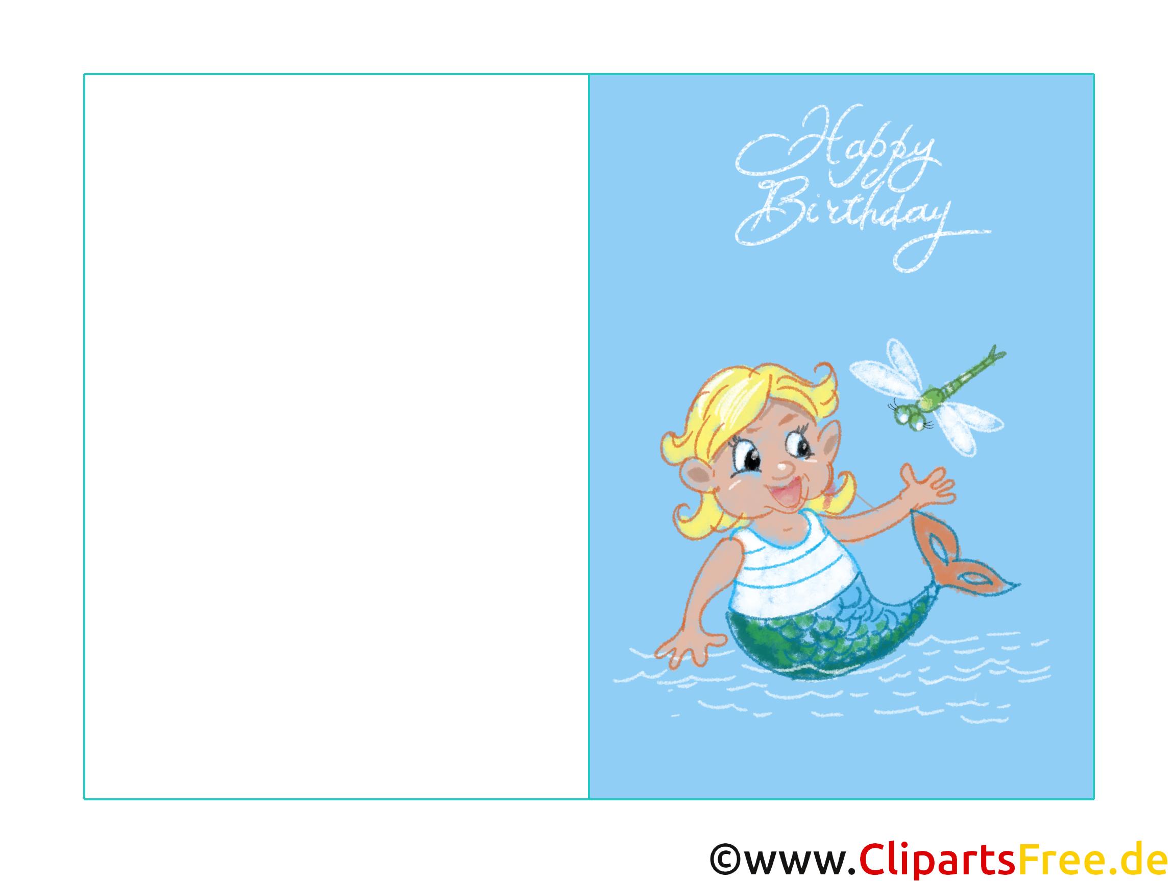 Kindergeburtstagskarte Mit Meerjungfrau Kostenlos Zum Drucken in Kindergeburtstagskarte