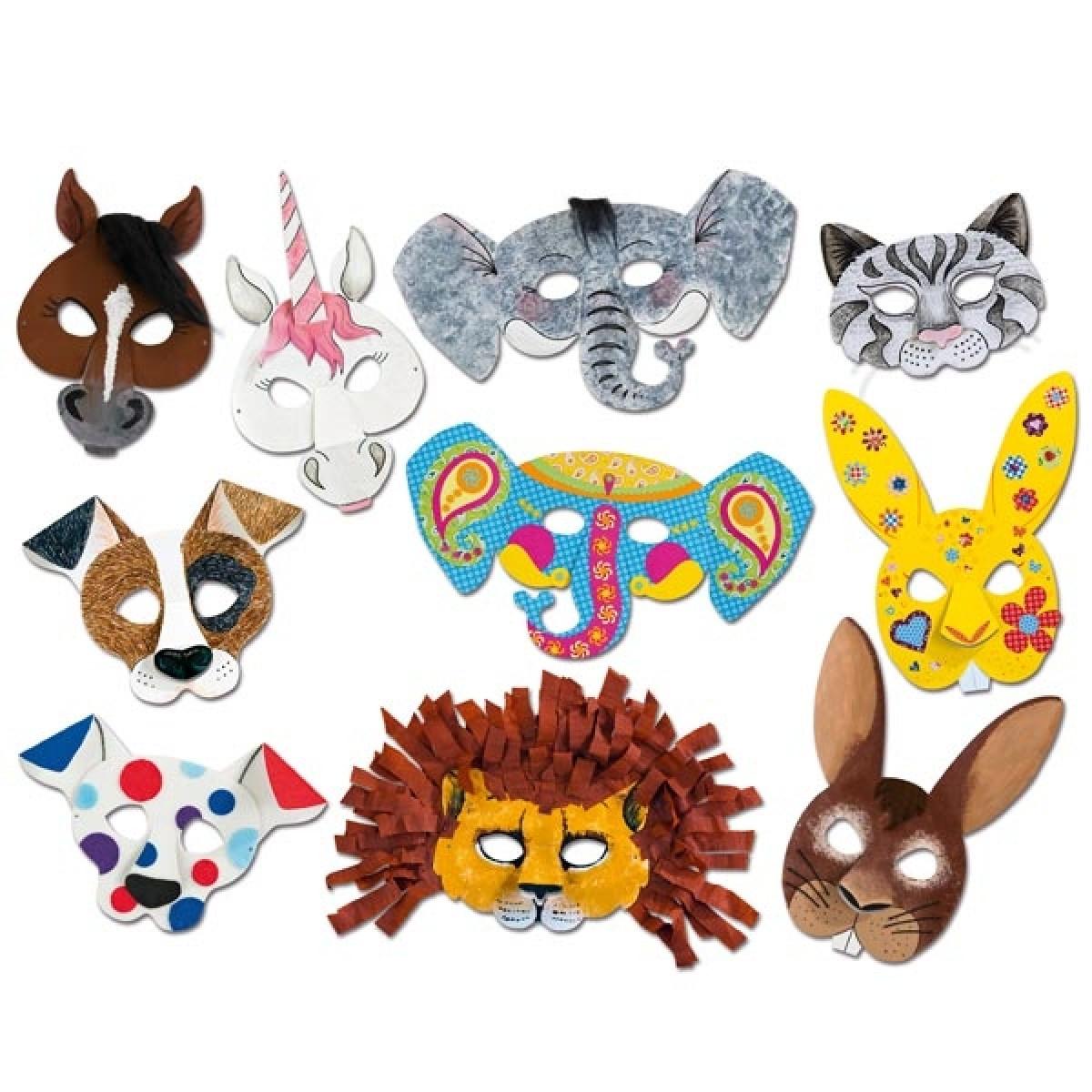 Kindermasken Zum Bemalen Und Bekleben, 6 Stück, Versch. Tiermotive Für  Mottoparty Zoo innen Kindermasken Basteln