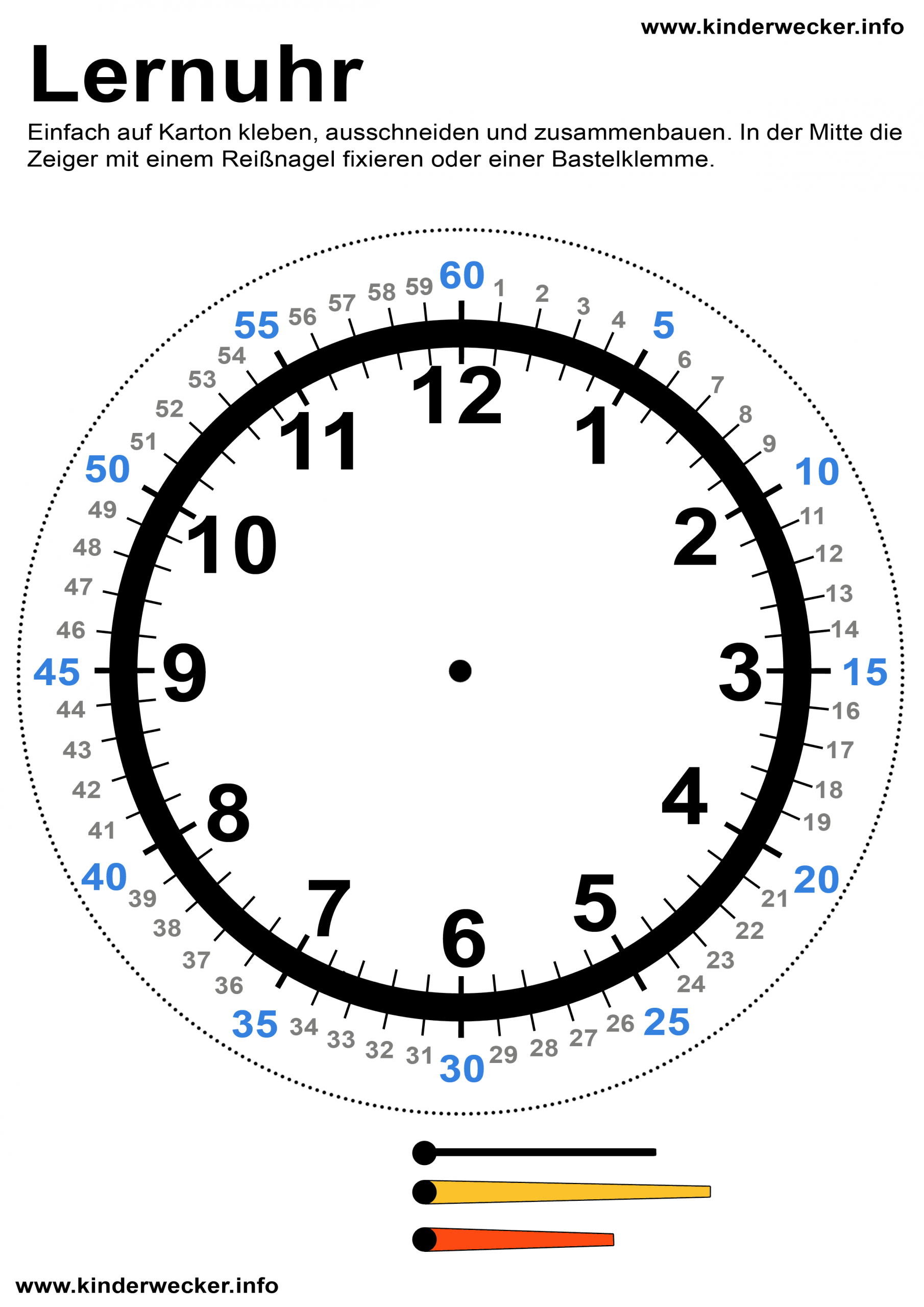 Kindern Uhren Lesen Beibringen - Lernuhr Basteln | Kinderwecker bestimmt für Uhr Bastelvorlage