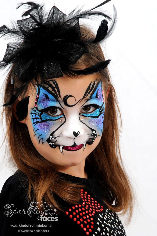 Kinderschminken, Kinderschminken Vorlagen, Schminkfarben mit Kinderschminken Katze Vorlagen