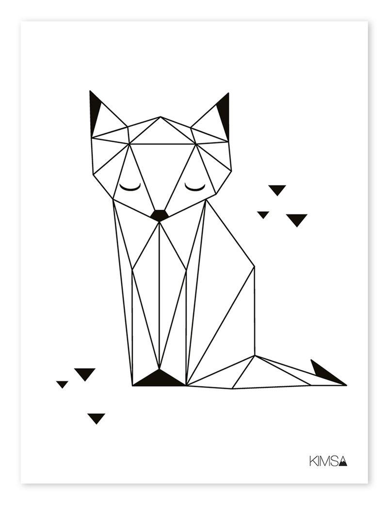 Kinderzimmer-Poster 'origami-Fuchs' Schwarz/weiß 30X40Cm ganzes Geometrisches Zeichnen Vorlagen