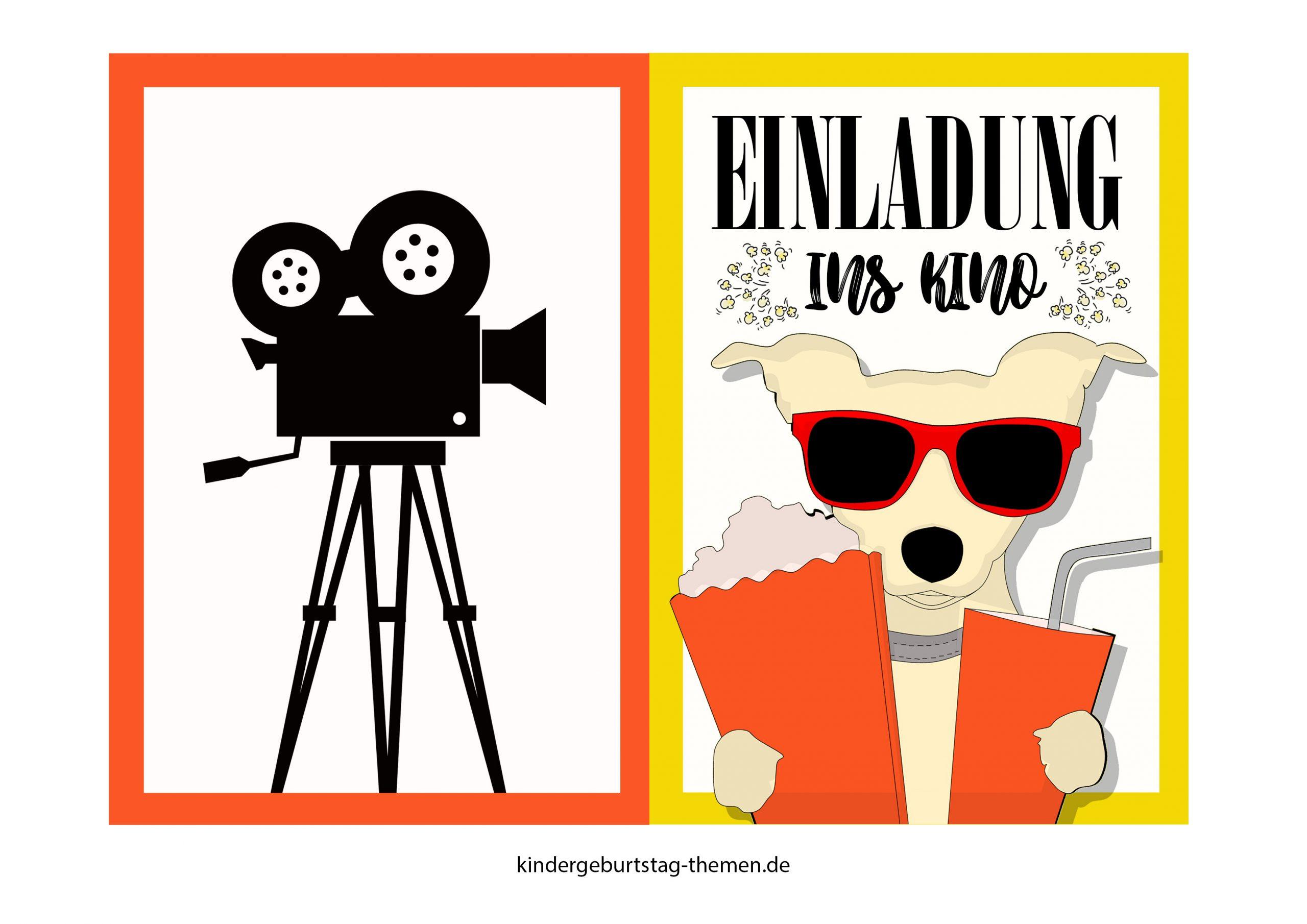 Kino Einladung: Druckvorlage Für Popcorn Karte Und Filmklappe bei Filmklappe Einladung Vorlage Kostenlos