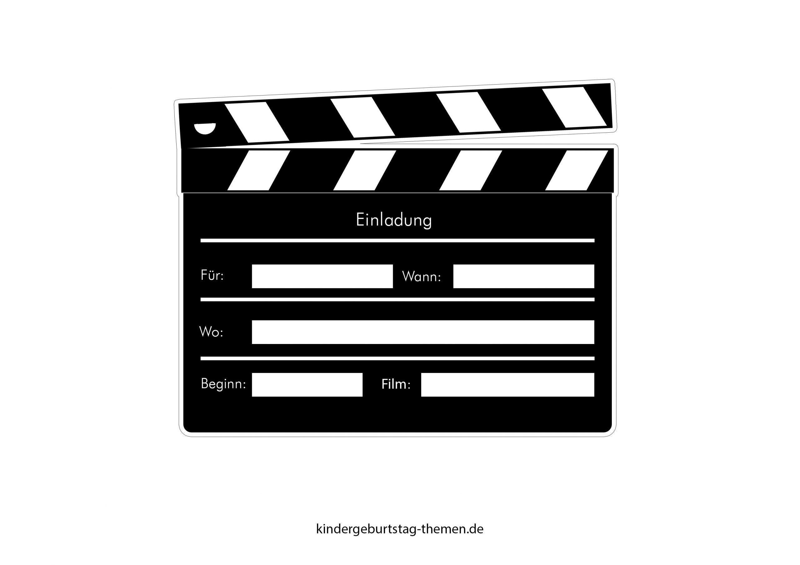 Kino Einladung: Druckvorlage Für Popcorn Karte Und Filmklappe in Filmklappe Einladung Vorlage Kostenlos