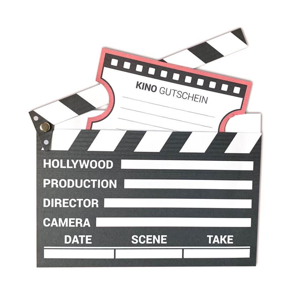 Kinogutschein Als Filmklappe Basteln | Mini-Presents Blog in Filmklappe Einladung Vorlage Kostenlos