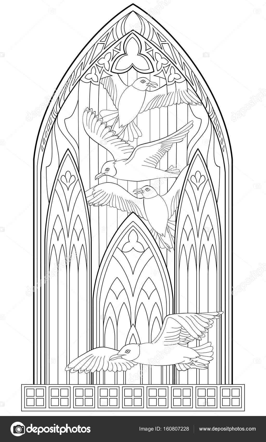 Kirchenfenster Gotik Malvorlage | Coloring And Malvorlagan in Kirchenfenster Malvorlage
