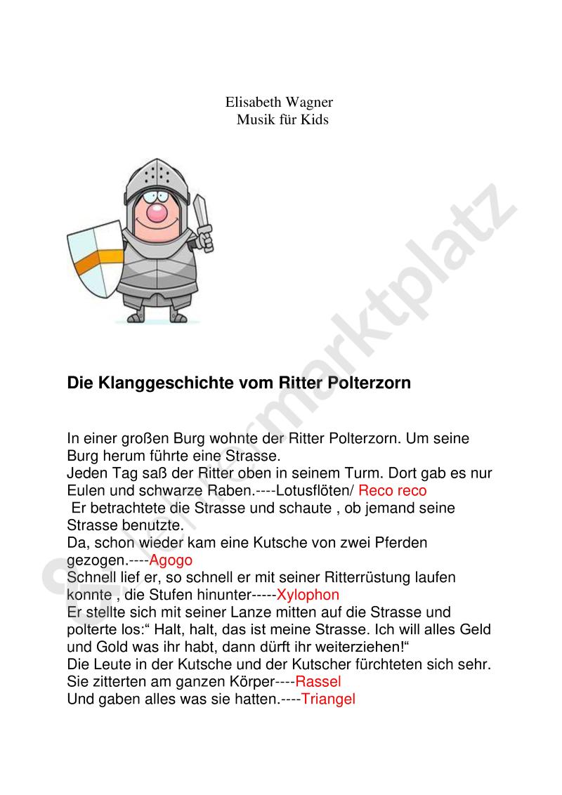 Klanggeschichte!: Der Ritter Polterzorn Plus Passendem Lied verwandt mit Klanggeschichten Weihnachten Kostenlos