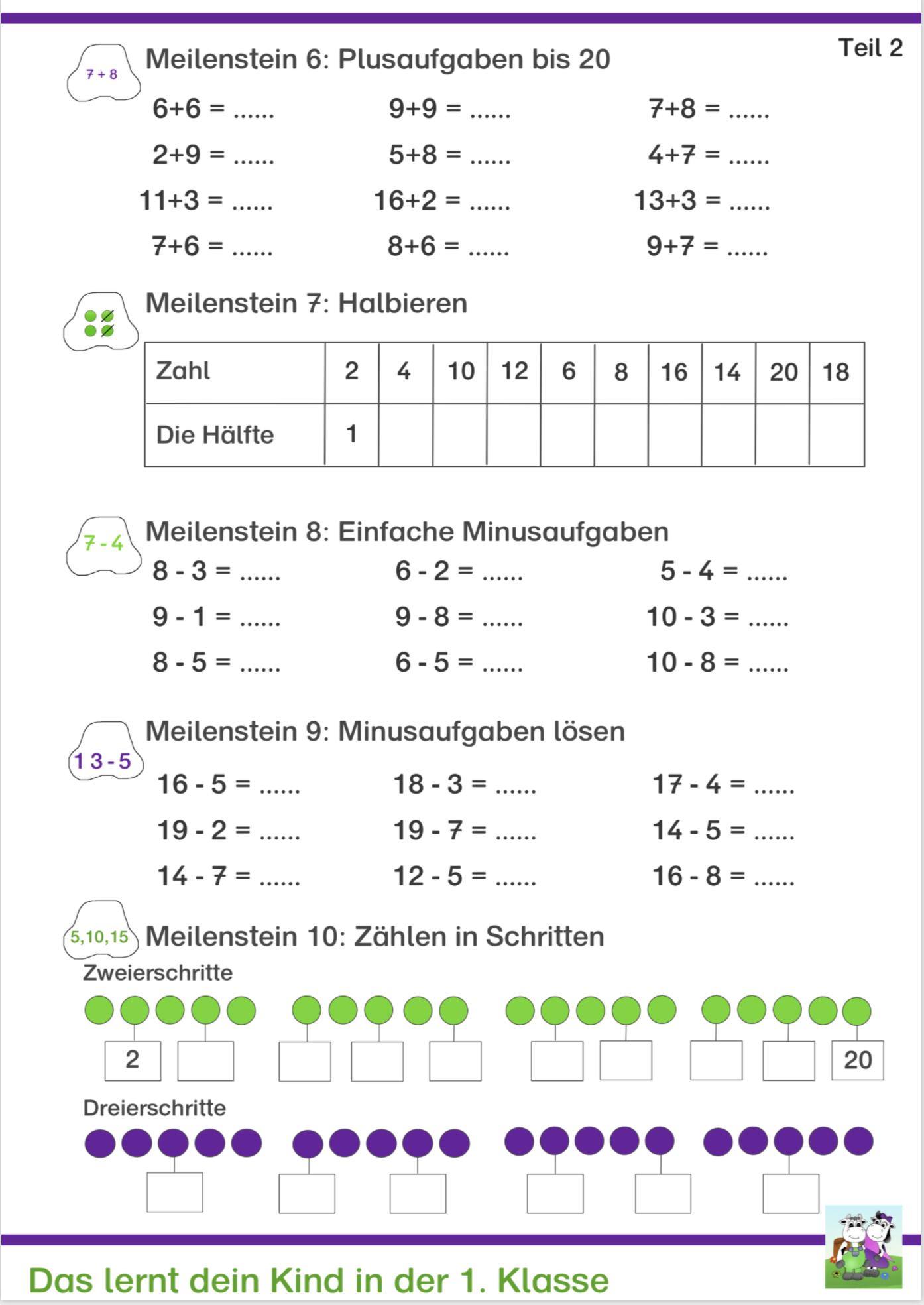 Klasse 1 - Mathe - Kostenlose Arbeitsblätter - Download für Mathematik 1 Klasse Hauptschule Arbeitsblätter