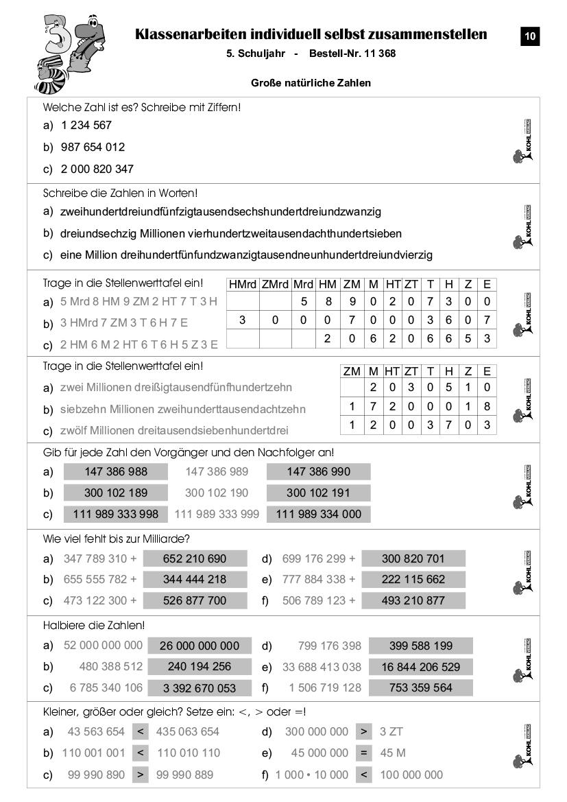 Klassenarbeiten Mathe / Klasse 5 in Mathearbeit Gymnasium Klasse 5