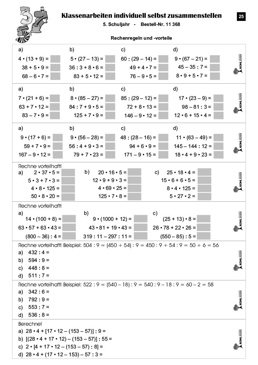 Klassenarbeiten Mathe / Klasse 5 über Mathearbeit Gymnasium Klasse 5