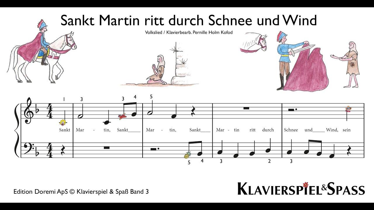 Klavierspiel Und Spaß - Sankt Martin Ritt Durch Schnee Und Wind bei St Martin Ritt Durch Schnee Und Wind Text