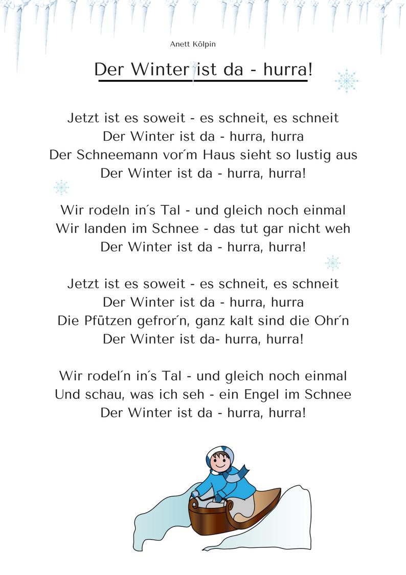 Kleines Winterlied - Anhören Und Mp3 Auf: Www.kitakiste mit Gedicht Winter Grundschule
