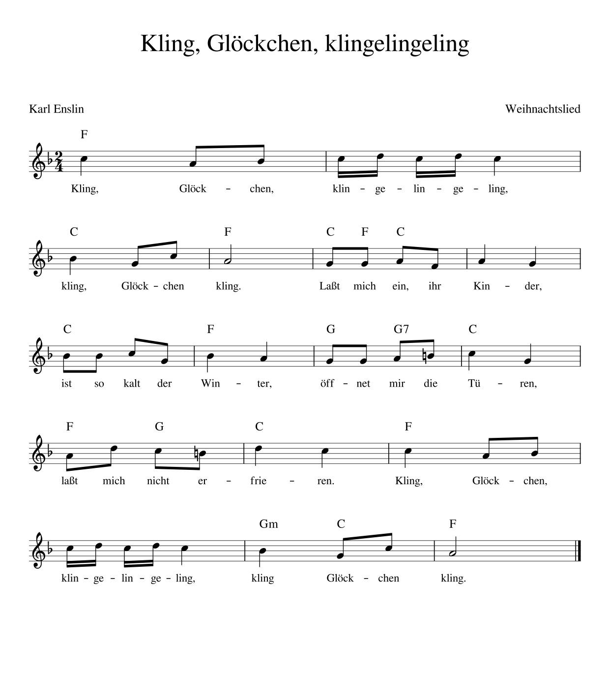 Kling Glöckchen Klingelingeling - Kinderlieder - Noten bei Kling Glöckchen Klingelingeling Text