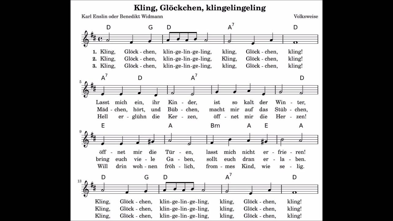 Kling Glöckchen Klingelingeling Noten / Lyrik / Text Weihnachtslieder,  Kinderlieder, Kirchenlieder ganzes Kling Glöckchen Klingelingeling Text