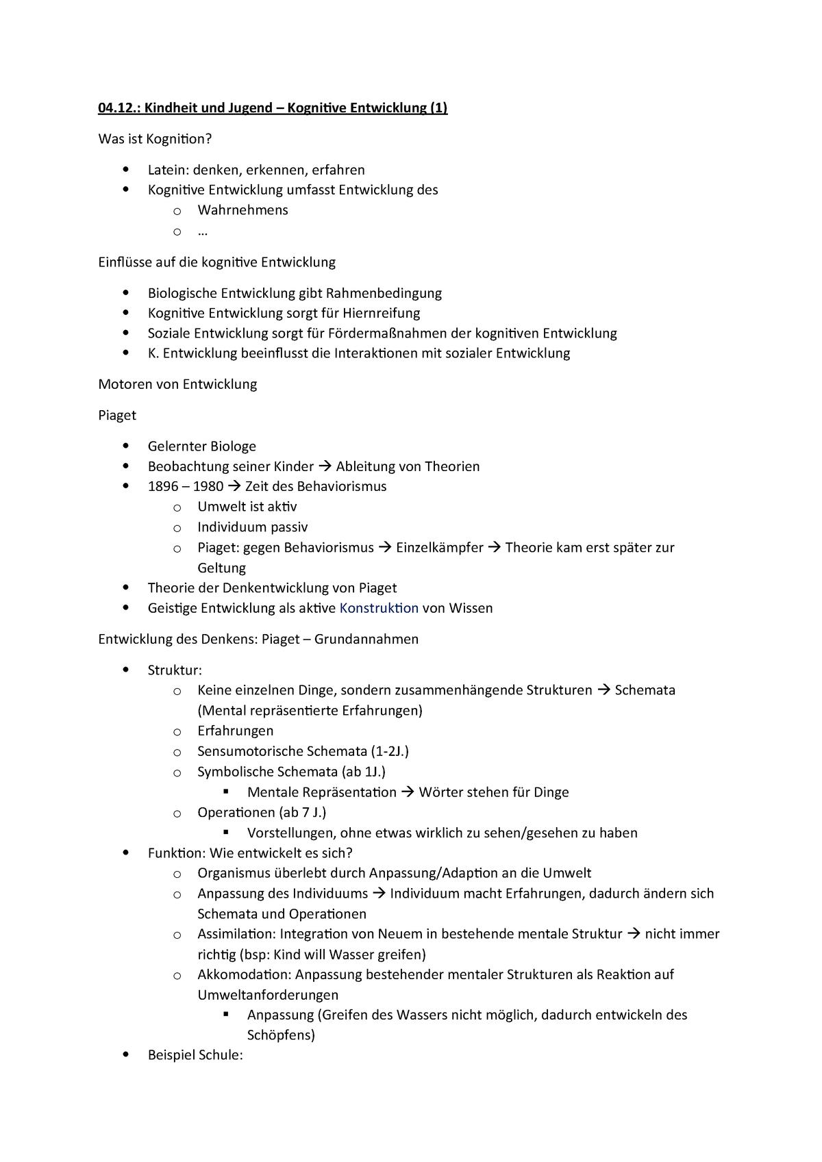 Kognitive Entwicklung - L.052.13001 - Uni Paderborn - Studocu verwandt mit Kognitive Entwicklung Kind Tabelle