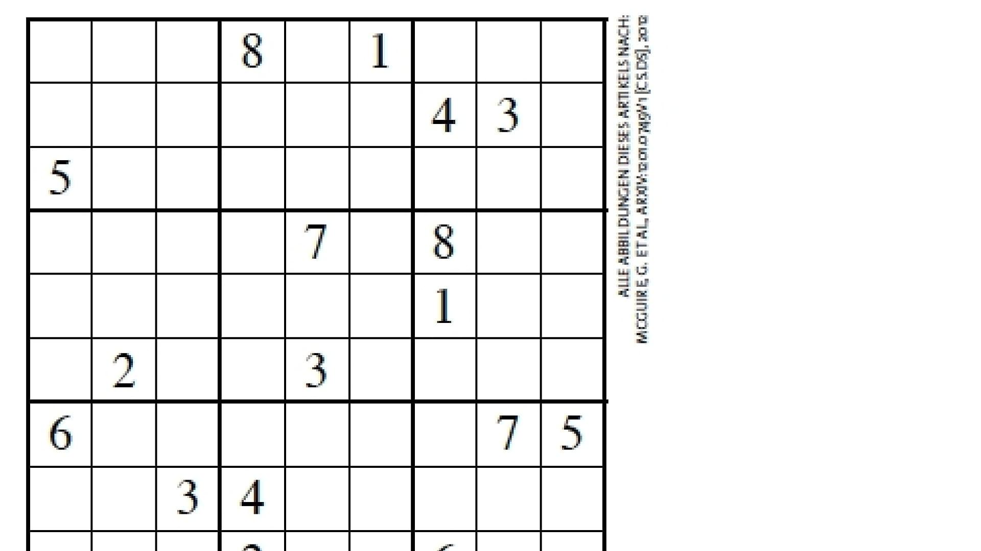 Kombinatorik: Ein Sudoku Benötigt Mindestens 17 Vorgaben bestimmt für Sudoku Kostenlos Drucken Schwer