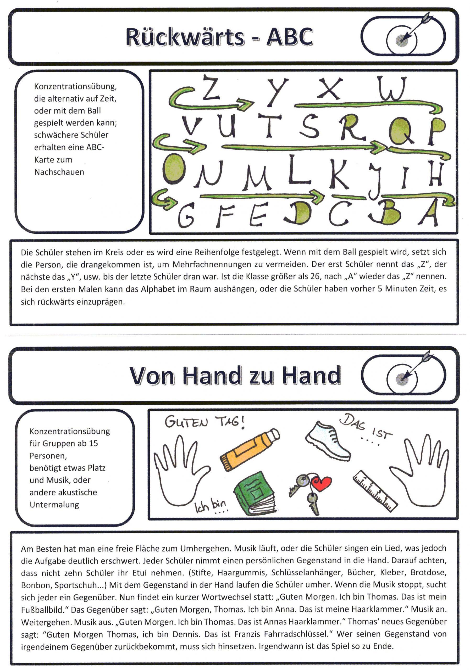 Konzentrationsübungen Zum Ausdrucken. Aktivitätenkarten Set mit Konzentrationsübungen Arbeitsblätter Zum Ausdrucken