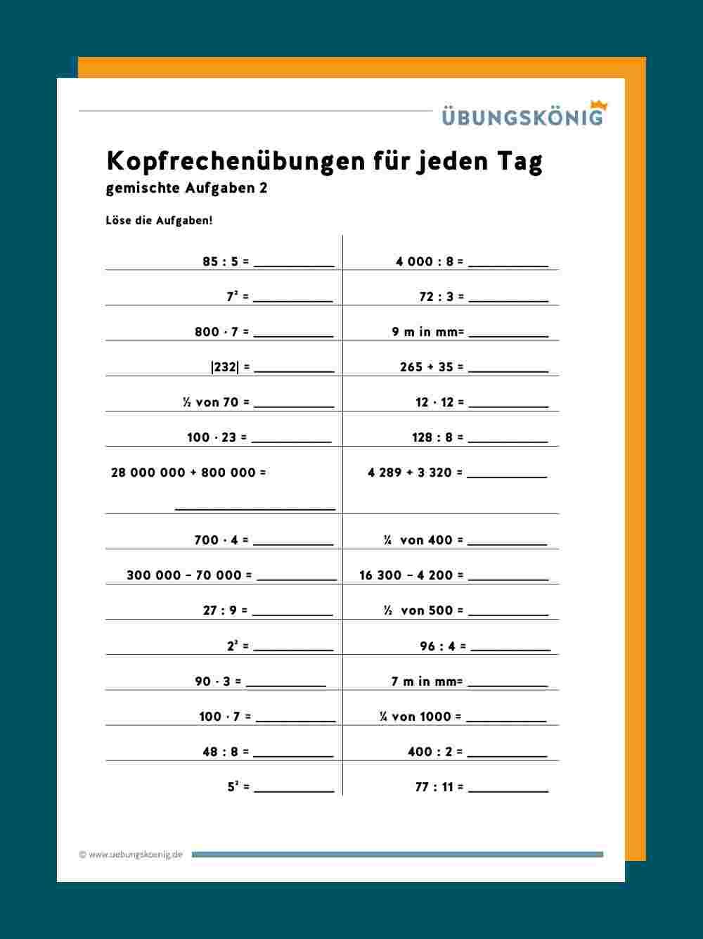 Kopfrechnen mit Mathematik 1 Klasse Hauptschule Arbeitsblätter