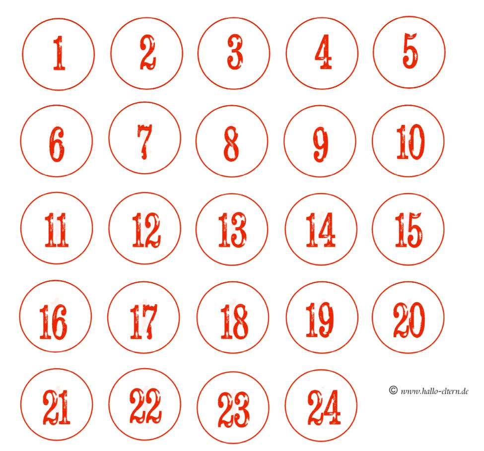 Kostenlose Adventskalender-Zahlen Zum Ausdrucken - Hallo Eltern ganzes Zahlenschablonen Zum Ausdrucken Kostenlos