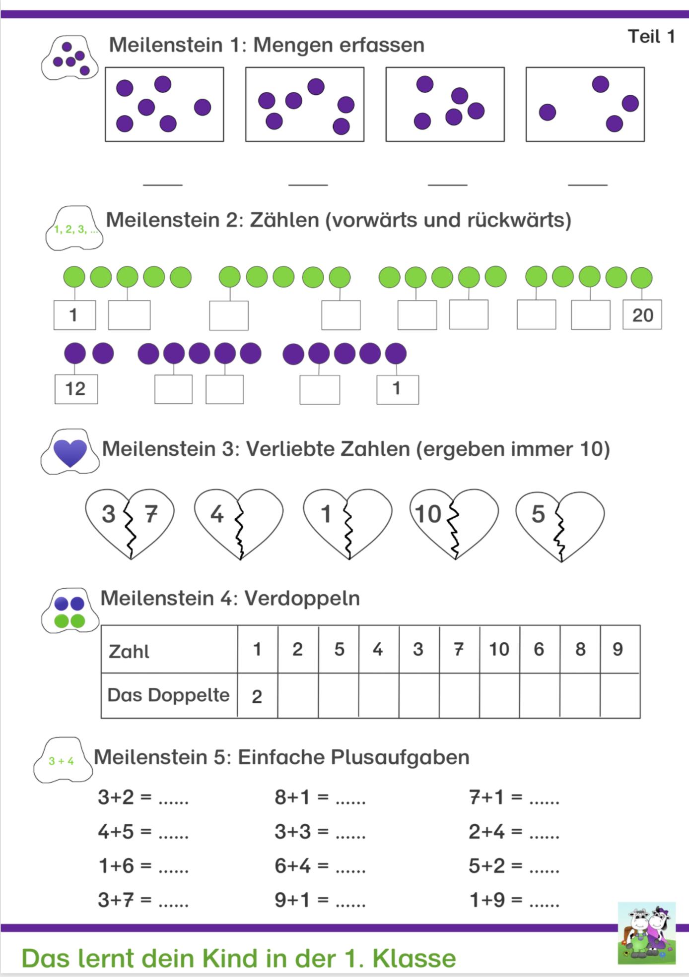 Kostenlose Arbeitsblätter Für Mathe Klasse 1 In 2020 (Mit mit Übungsaufgaben 1 Klasse Kostenlos