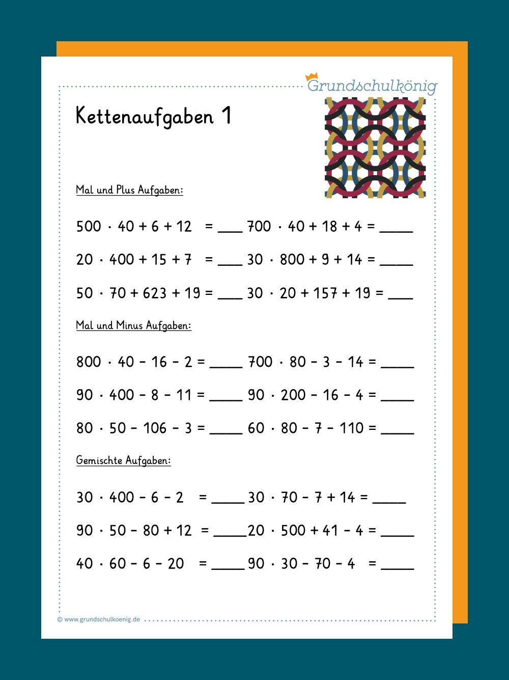 Kostenlose Arbeitsblätter Mit Kettenaufgaben Für Mathe In für Kostenlose Arbeitsblätter Mathe