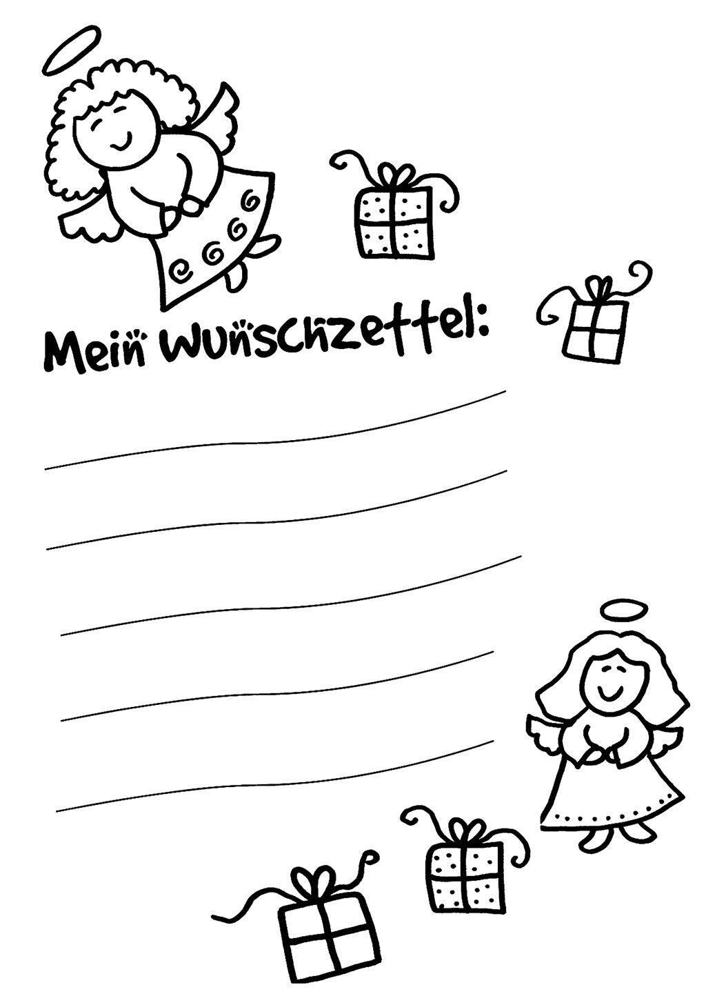 Kostenlose Ausmalbilder Und Malvorlagen: Wunschzettel Für in Weihnachtsbilder Zum Ausmalen Und Drucken