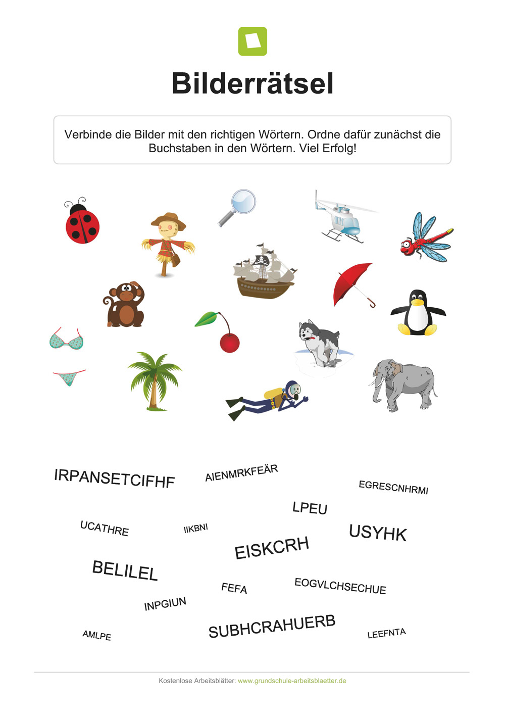 Kostenlose Bilderrätsel Für Kinder Zum Ausdrucken - Die ganzes Rätsel Für Schulkinder