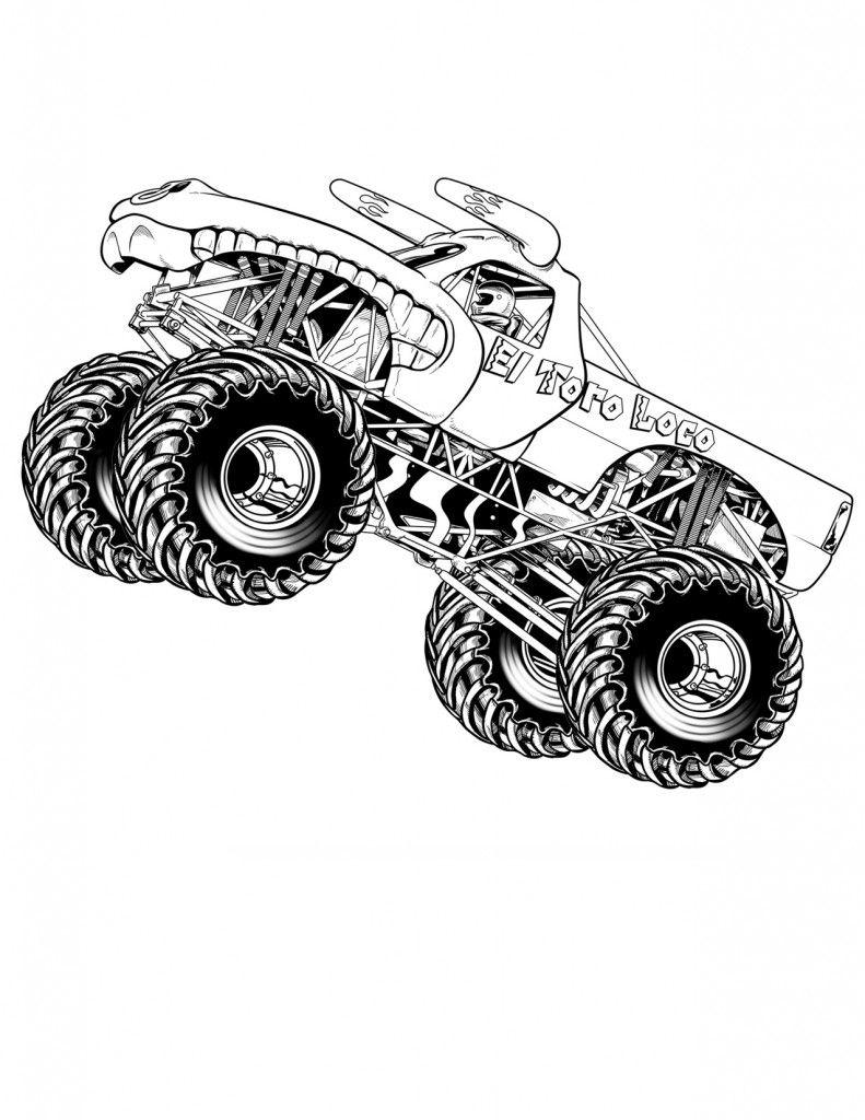 Kostenlose Druckbare Monster Truck Malvorlagen Für Kinder verwandt mit Monstertruck Malvorlage