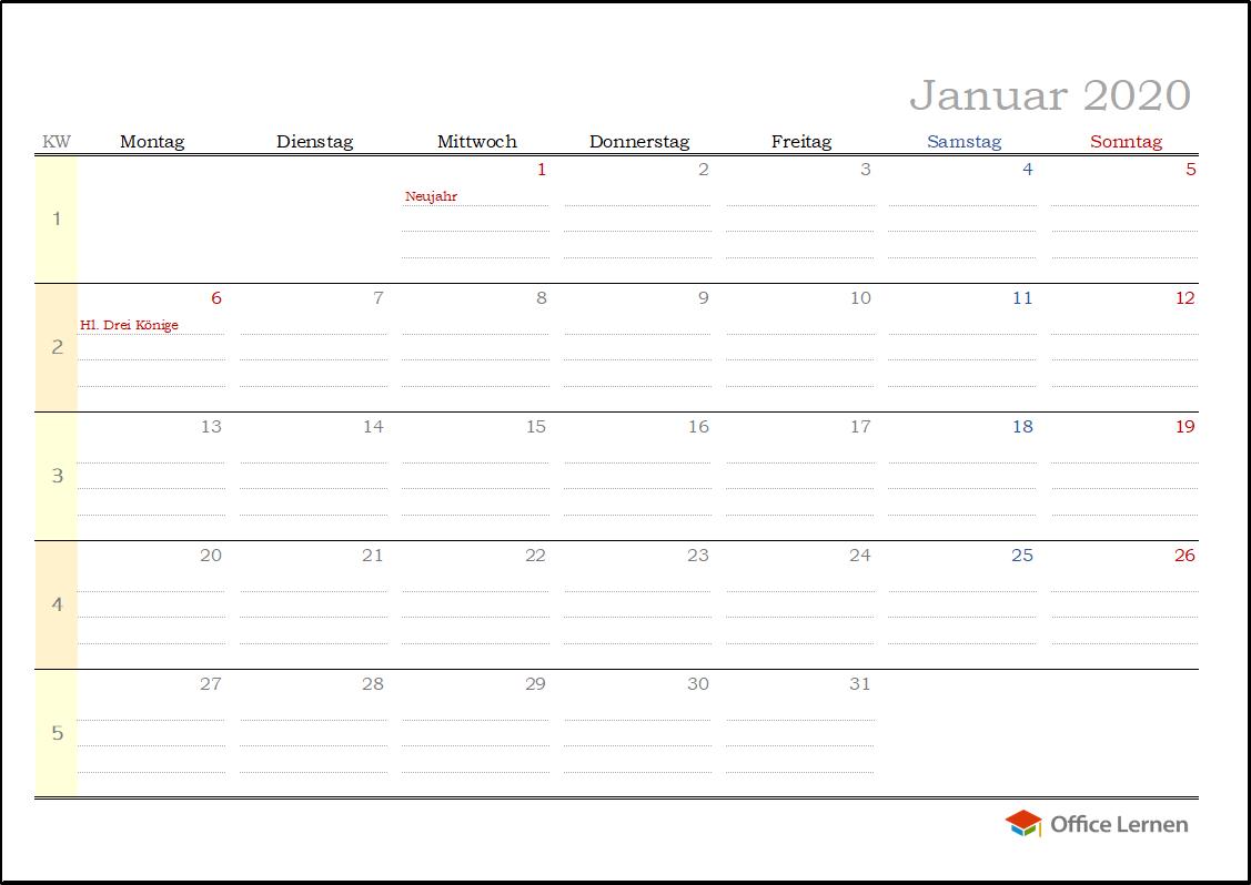 Kostenlose Kalendervorlagen 2020 Für Word Und Excel - Office in Monatskalender Vorlage