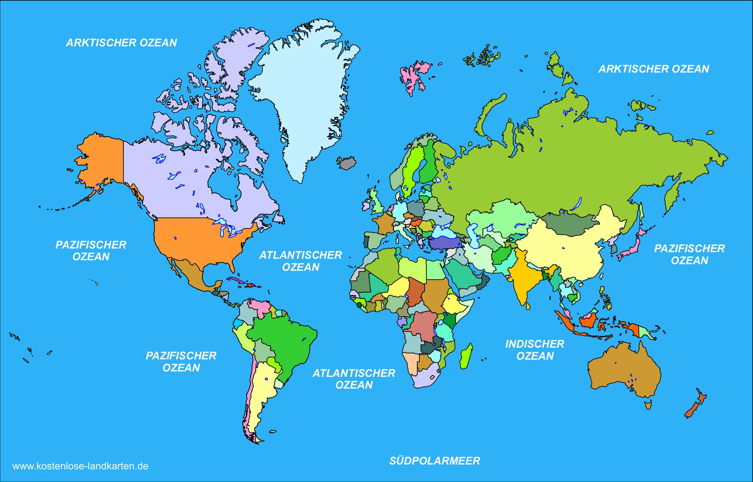 Kostenlose Landkarten Aller Länder Der Welt ganzes Länder Der Welt Karte