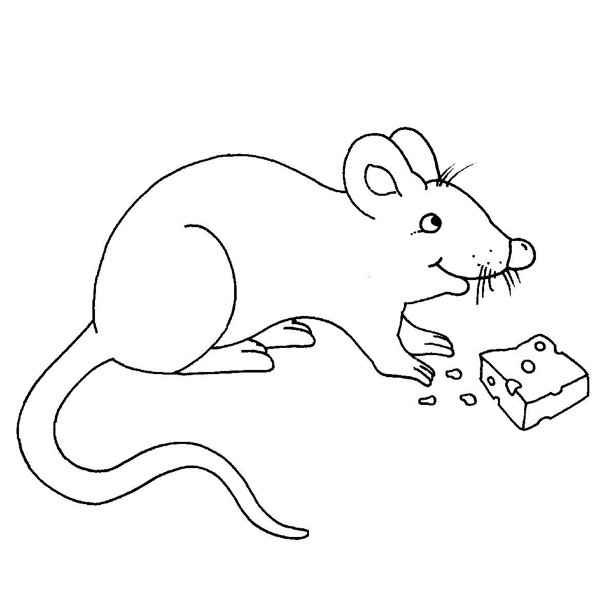 Kostenlose Malvorlage Bauernhof: Maus Mit Käse Zum Ausmalen bei Maus Zum Ausmalen