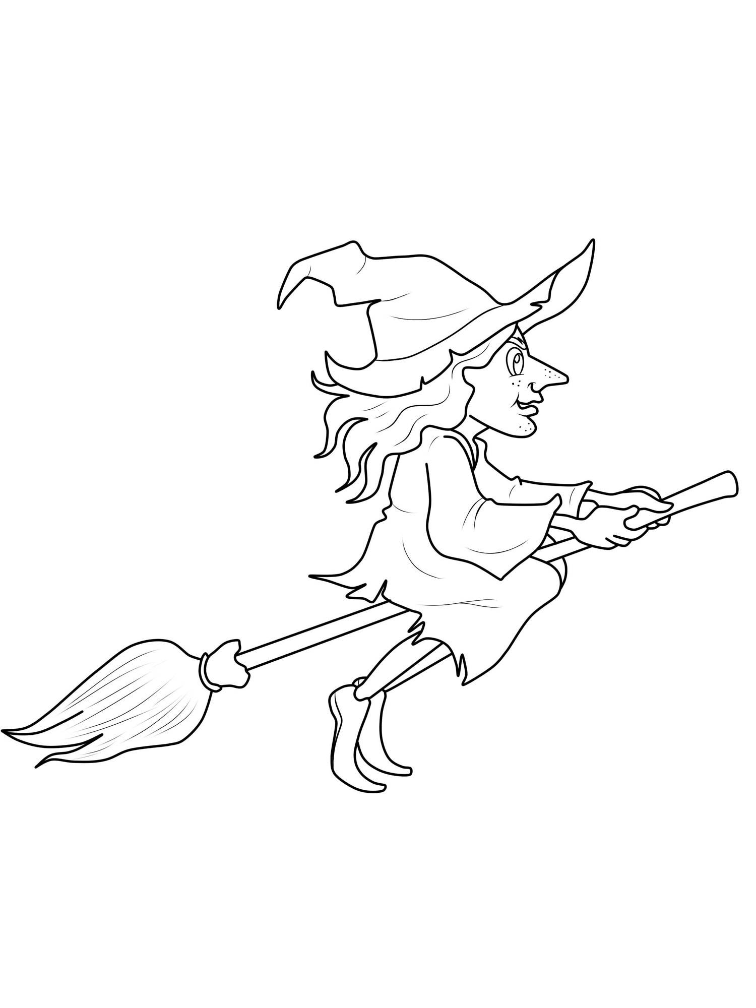 Kostenlose Malvorlage Halloween: Hexe Auf Dem Hexenbesen Zum bestimmt für Bastelvorlage Hexe