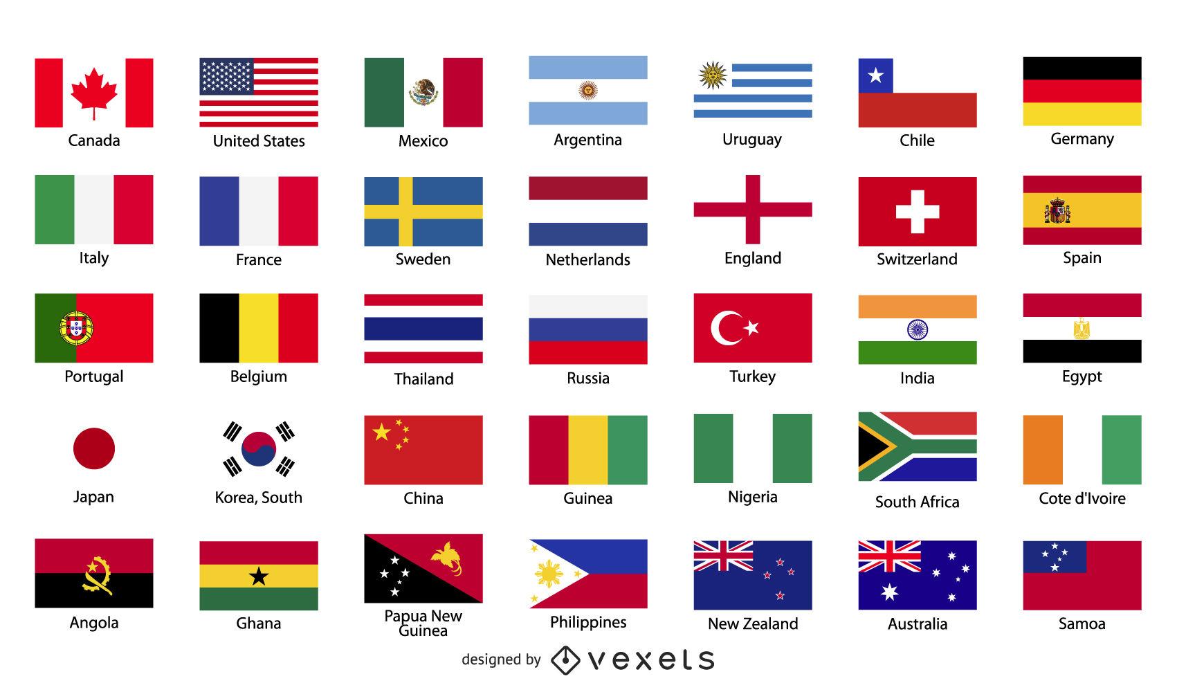 Kostenlose Vector Flaggen Der Welt - Vektor Download ganzes Flaggen Der Welt Download