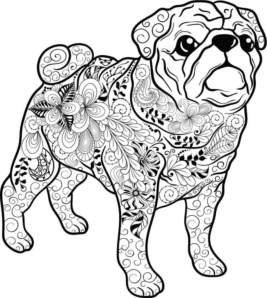 Kostenloses Ausmalbild Hund - Mops. Die Gratis Mandala über Lustige Ausmalbilder