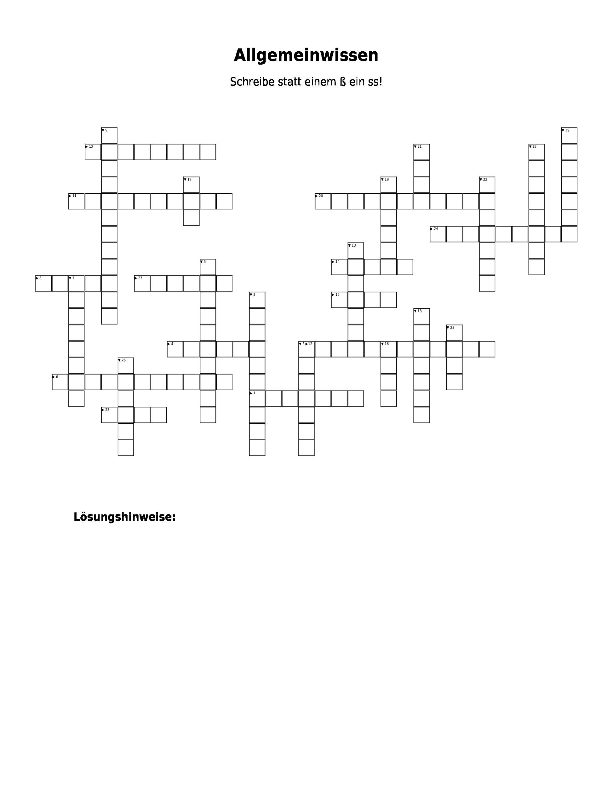 """Kreuzworträtsel """"allgemeinwissen"""" Als Pdf (Arbeitsblatt in Fragen Zum Allgemeinwissen Mit Antworten"""