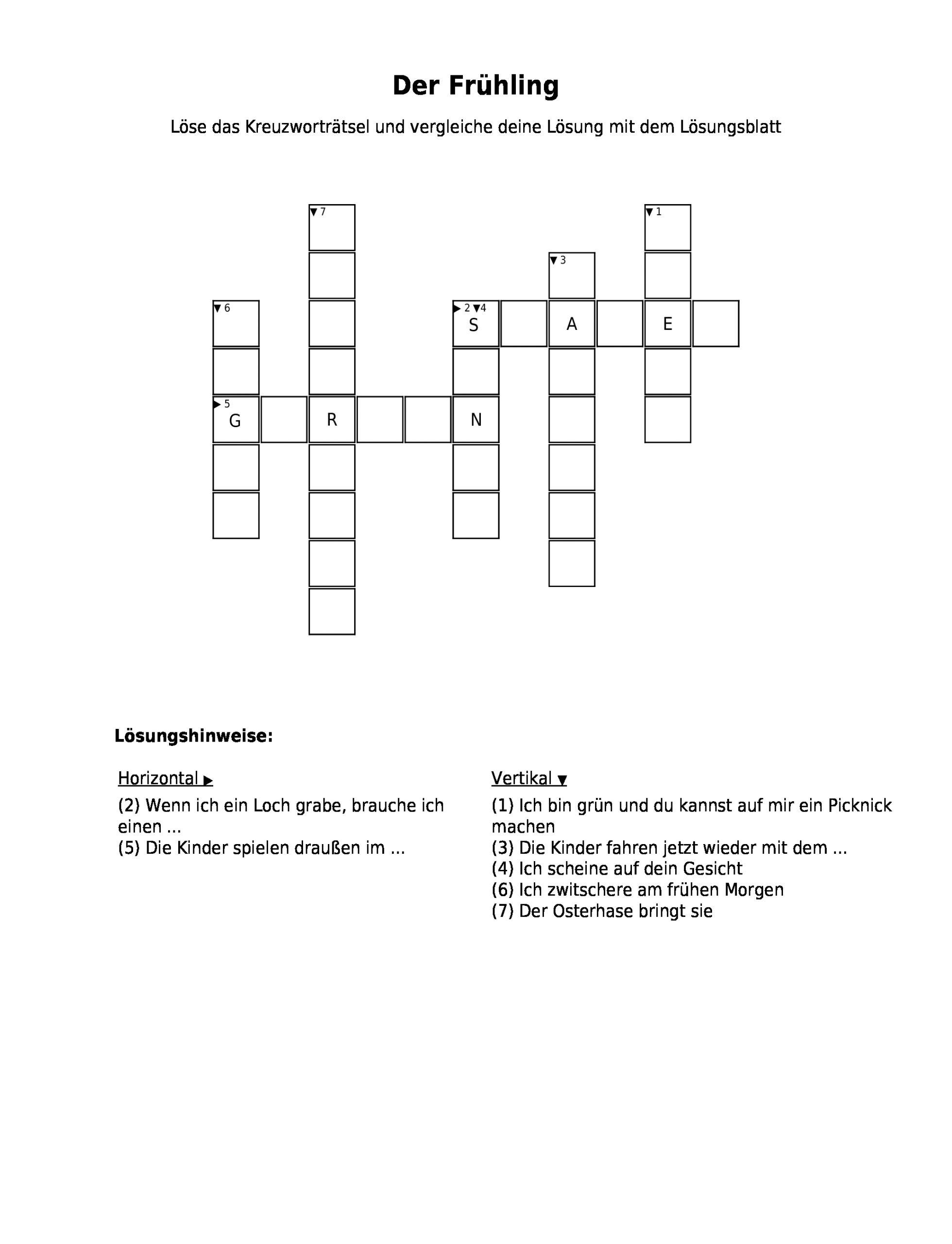 "Kreuzworträtsel ""der Frühling"" Als Pdf (Arbeitsblatt verwandt mit Bild Kreuzwortraetsel"