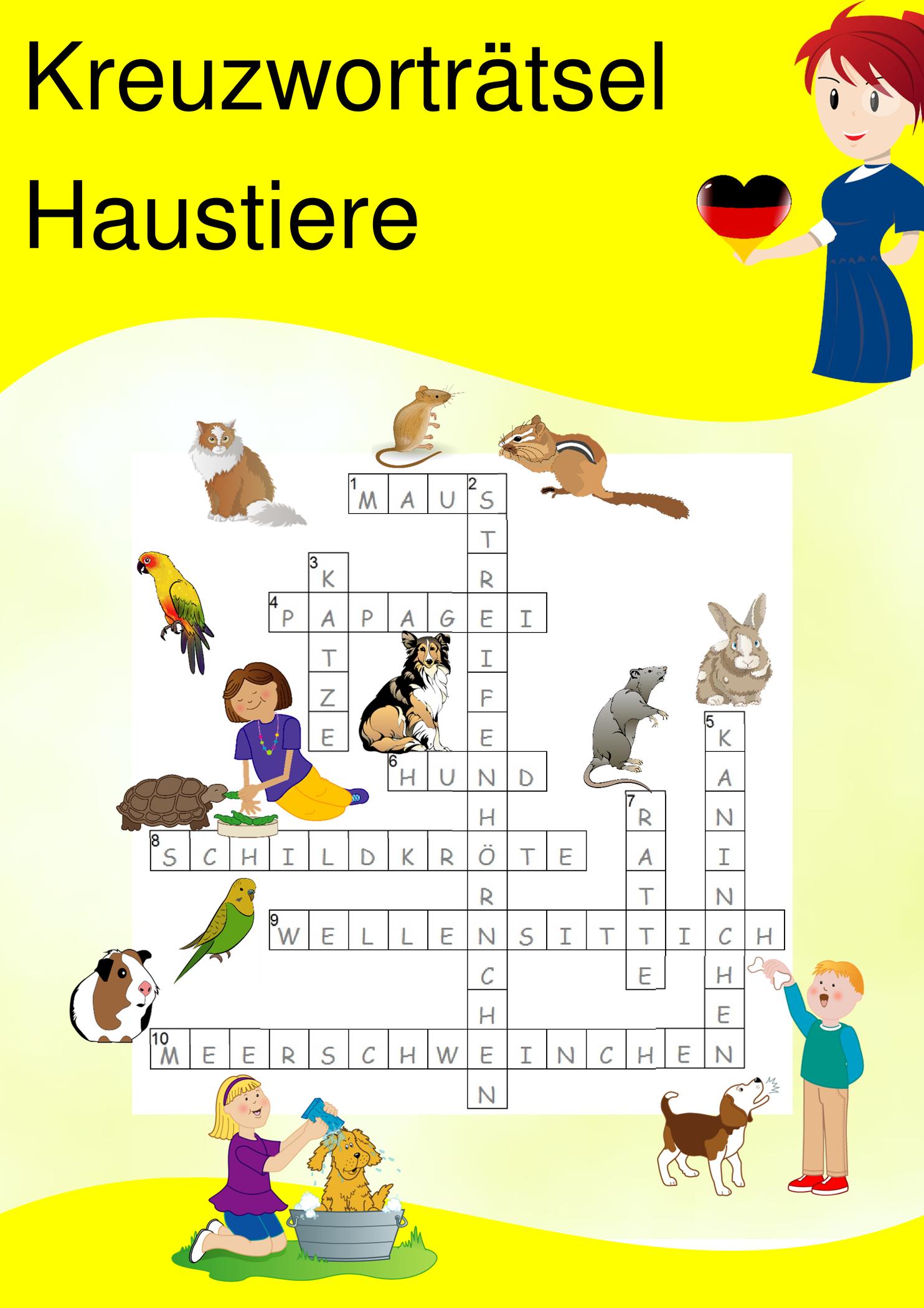 Kreuzworträtsel - Haustiere - Deutsch, Daf, Daz | Download in Haustier Kreuzworträtsel