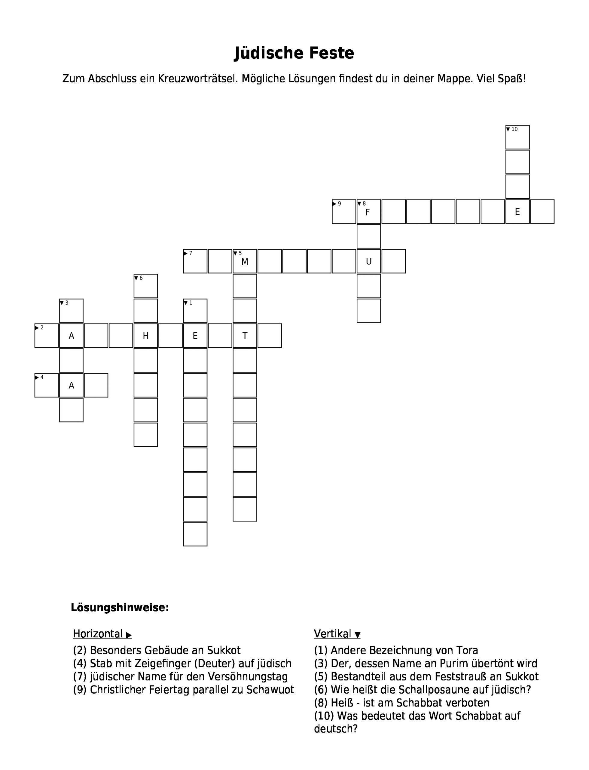 "Kreuzworträtsel ""jüdische Feste"" Als Pdf (Arbeitsblatt mit Feuer Kreuzworträtsel"