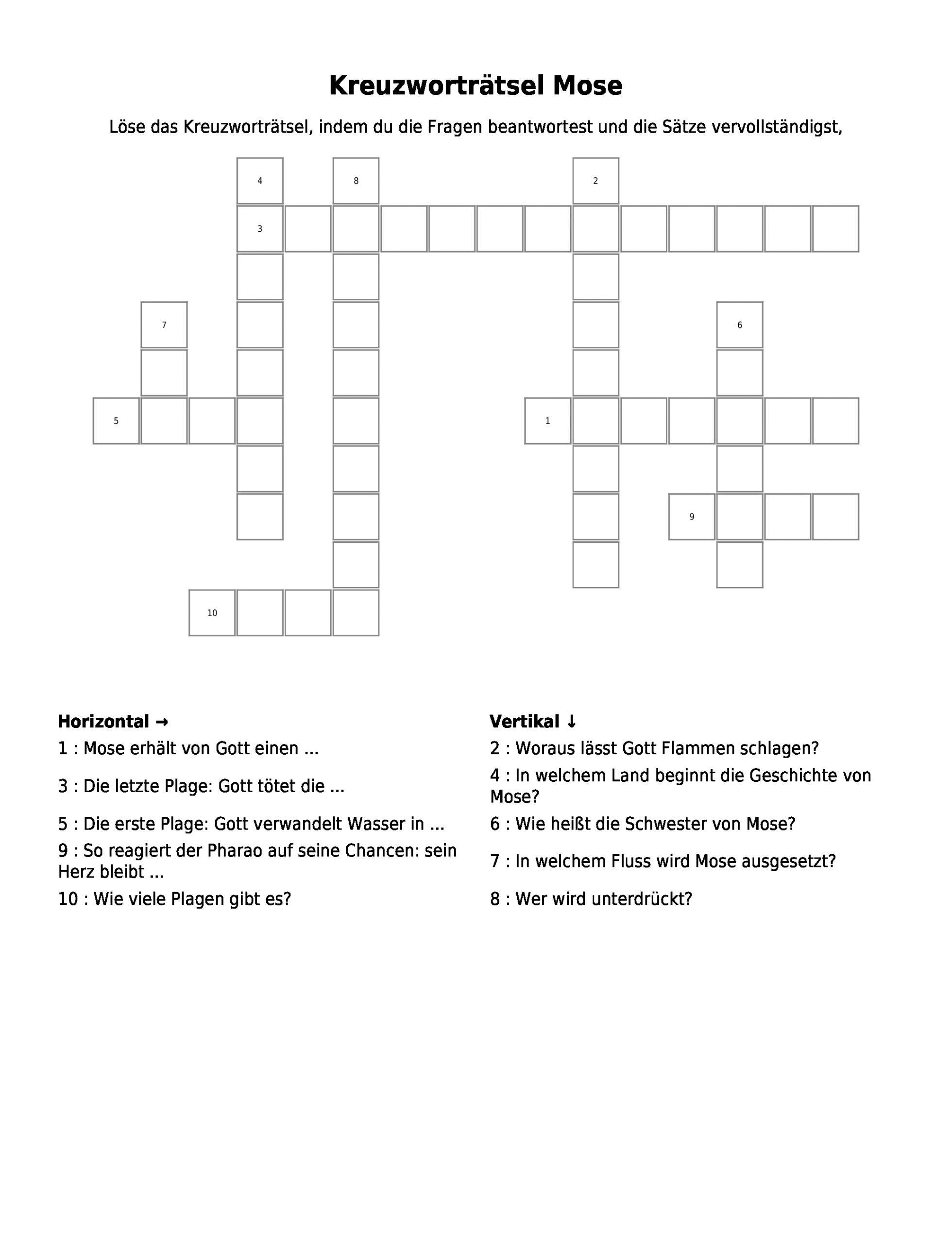 "Kreuzworträtsel ""kreuzworträtsel Mose"" Als Pdf (Arbeitsblatt verwandt mit Fragen Für Kreuzworträtsel"
