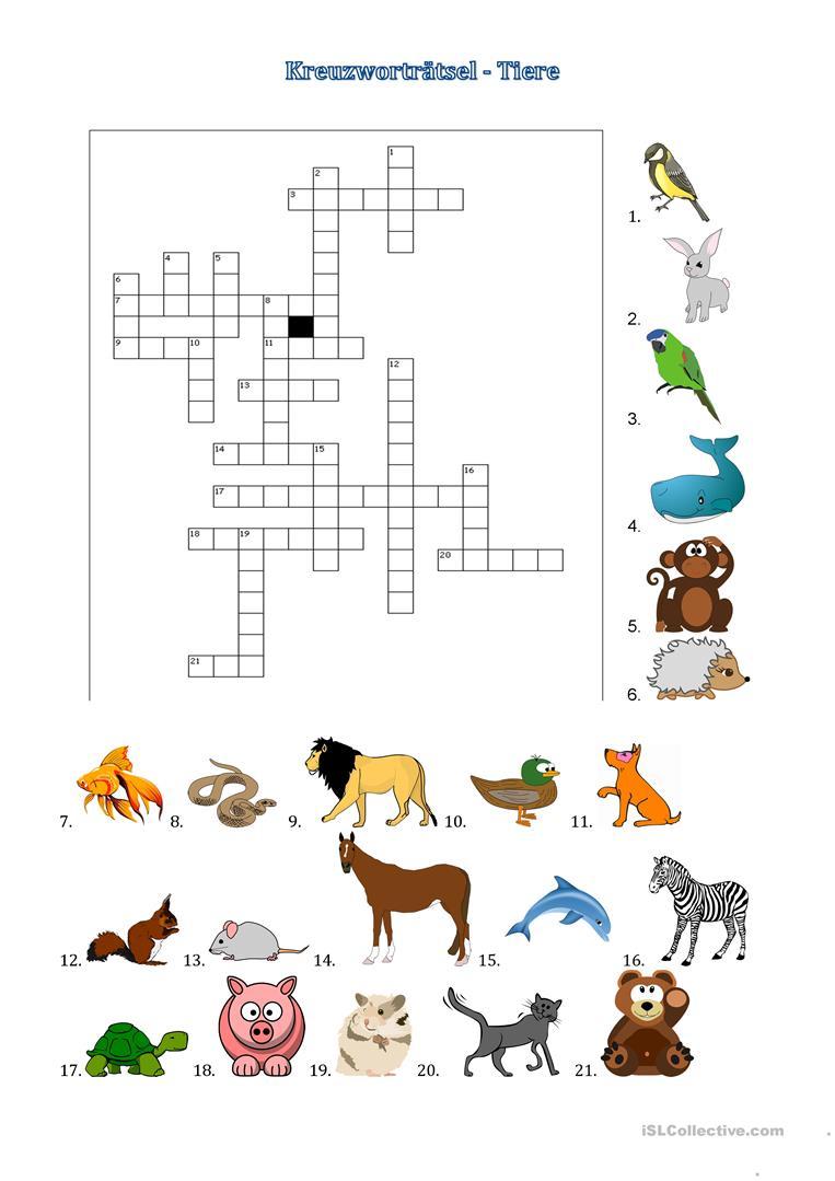 Kreuzworträtsel: Tiere - Deutsch Daf Arbeitsblatter bei Haustier Kreuzworträtsel
