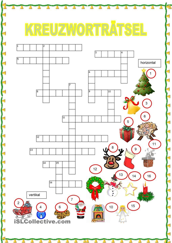 Kreuzworträtsel - Weihnachten (Mit Bildern)   Weihnachten mit Kreuzworträtsel Für Kindergartenkinder