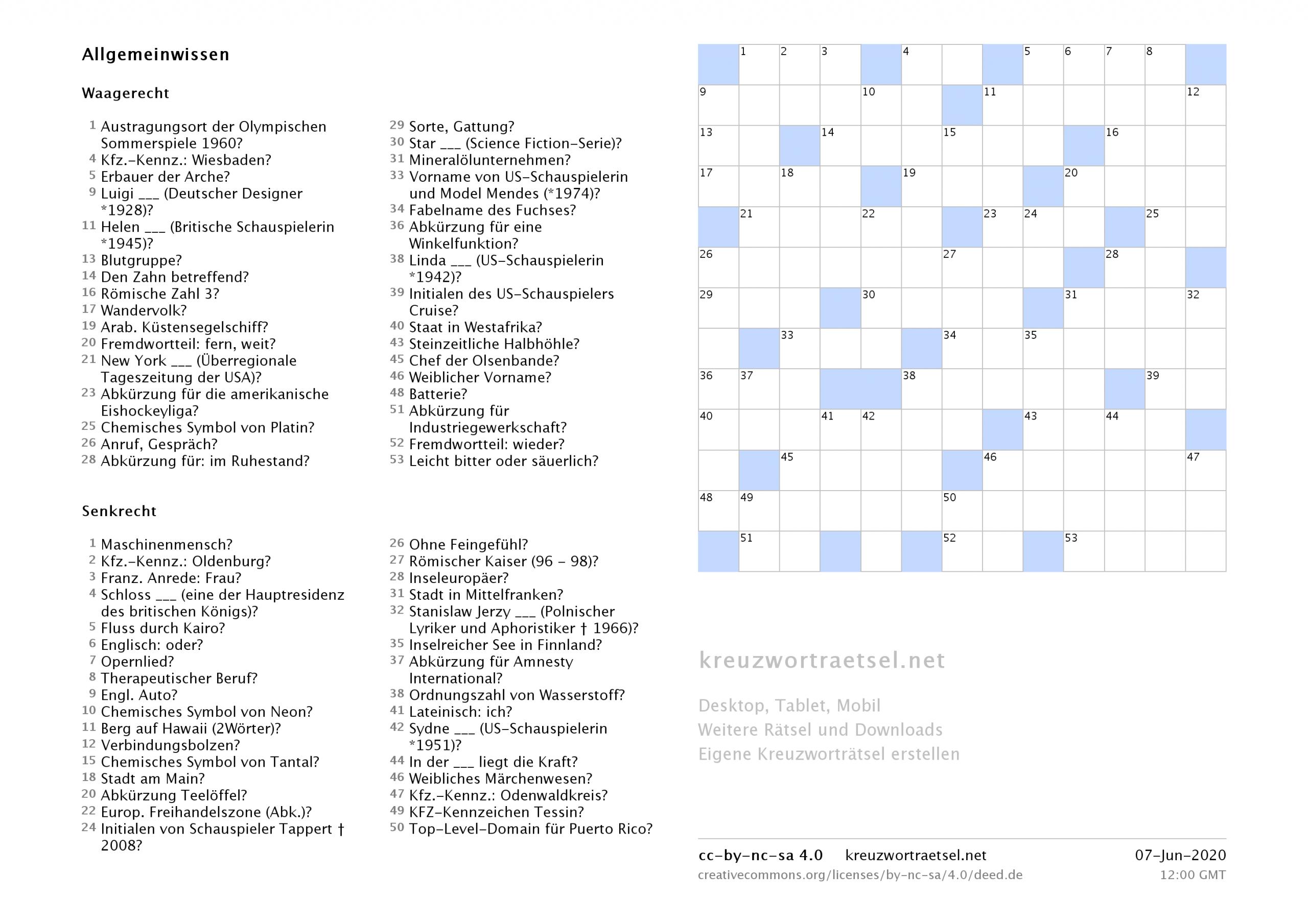 Kreuzworträtsel Zum Ausdrucken  Kreuzworträtsel bestimmt für Schwedenrätsel Ausdrucken