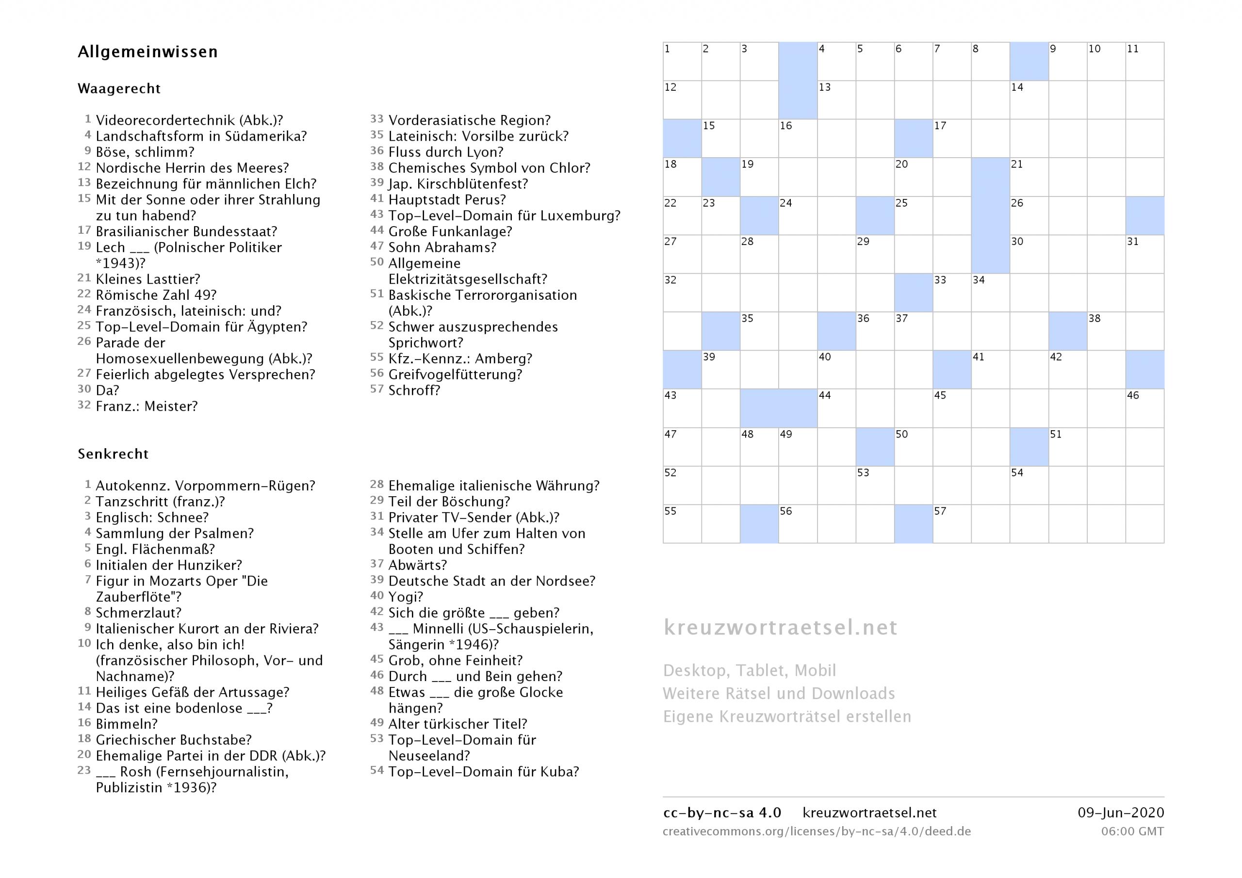 Kreuzworträtsel Zum Ausdrucken  Kreuzworträtsel für Rätsel Zum Ausdrucken Für Erwachsene
