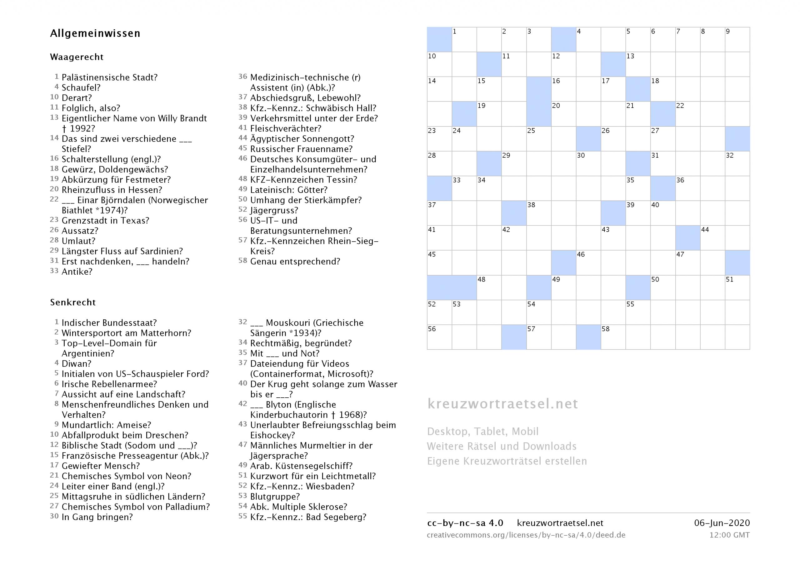 Kreuzworträtsel Zum Ausdrucken  Kreuzworträtsel ganzes Lustige Rätsel Zum Ausdrucken Kostenlos
