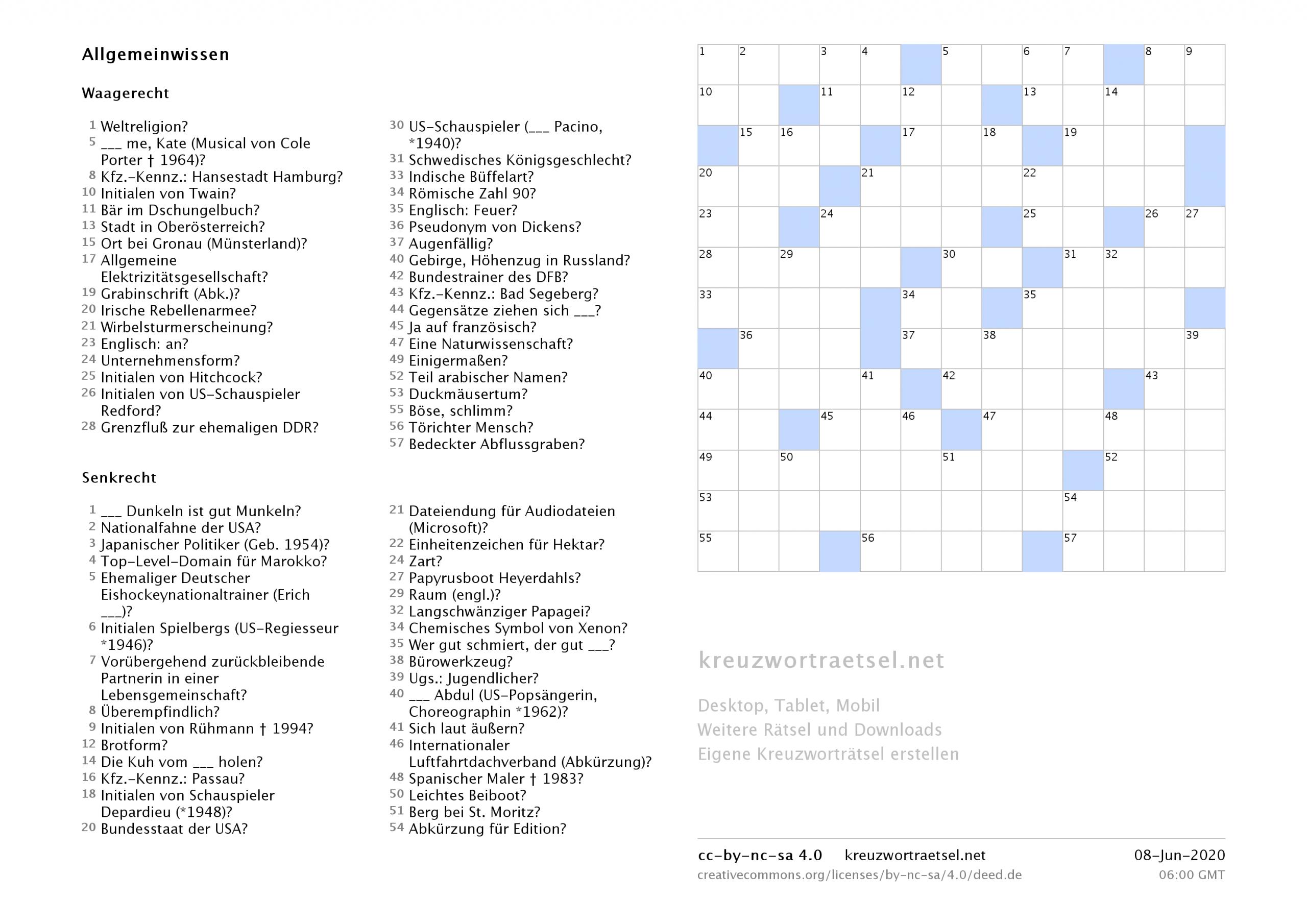 Kreuzworträtsel Zum Ausdrucken  Kreuzworträtsel verwandt mit Kostenlose Kreuzworträtsel