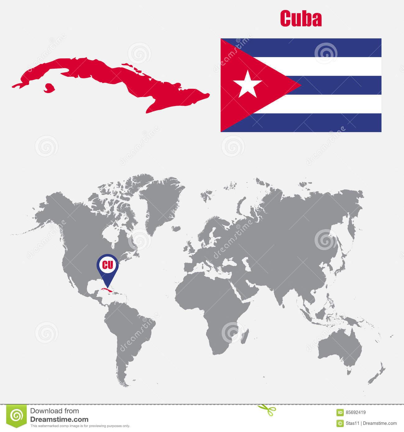 Kuba-Karte Auf Einer Weltkarte Mit Flaggen- Und Kartenzeiger mit Weltkarte Mit Flaggen