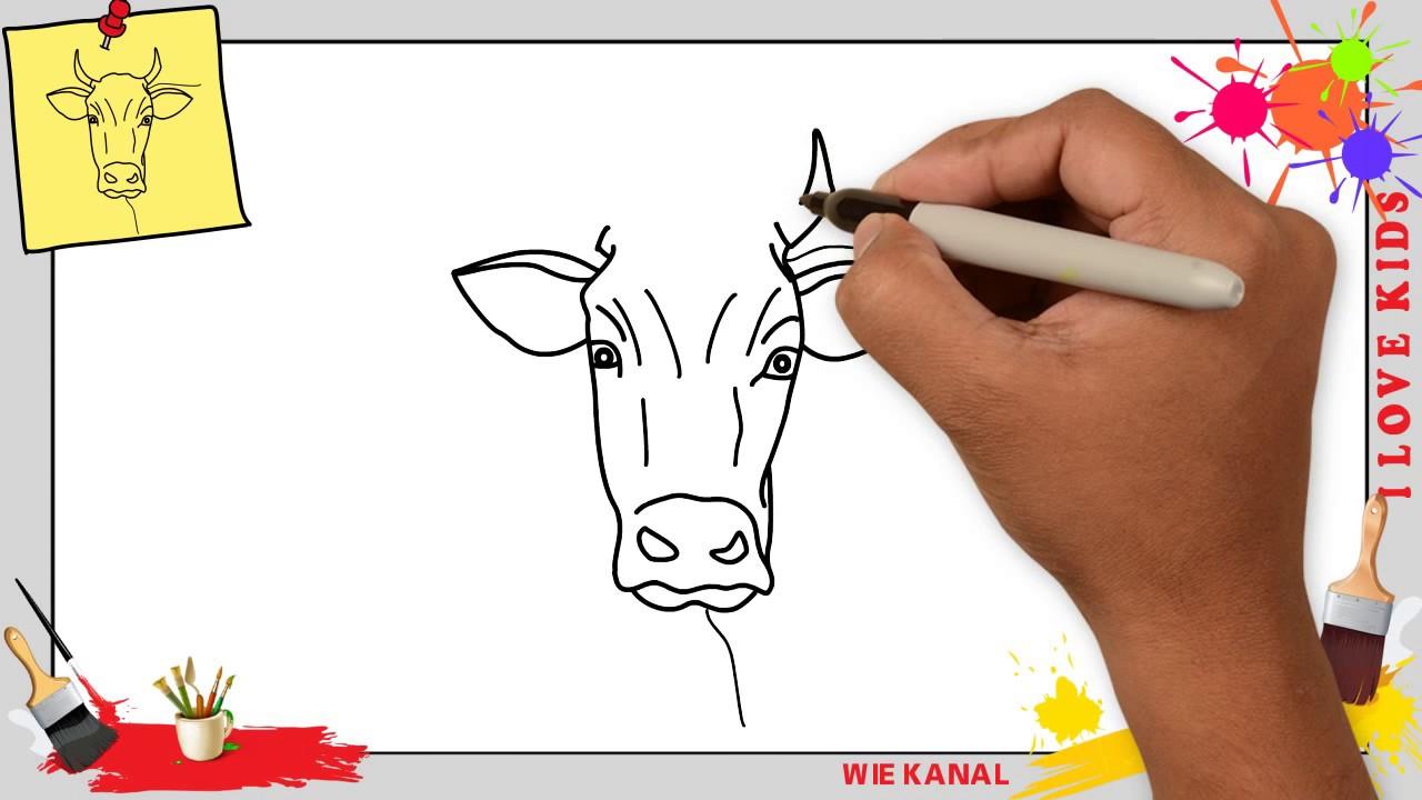 Kuh (Gesicht) Zeichnen Schritt Für Schritt Für Anfänger & Kinder - Zeichnen  Lernen ganzes Kuh Malen