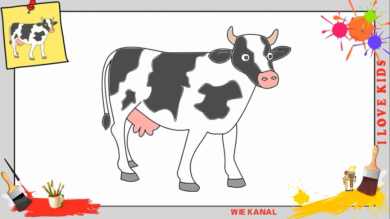 Kuh Zeichnen 2 Schritt Für Schritt Für Anfänger & Kinder - Zeichnen Lernen  Tutorial bestimmt für Kuh Malen