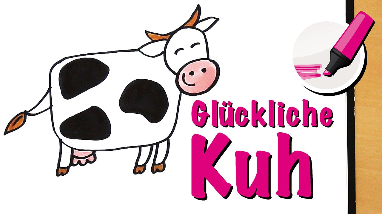 Kuh Zeichnen Lernen (Die Glückliche!) - How To Draw A Cow (Cartoon) für Kuh Malen
