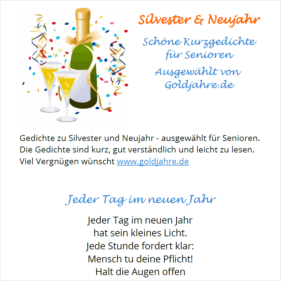 Kurze Silvestergedichte Für Senioren innen Lustige Gedichte Jahreswechsel