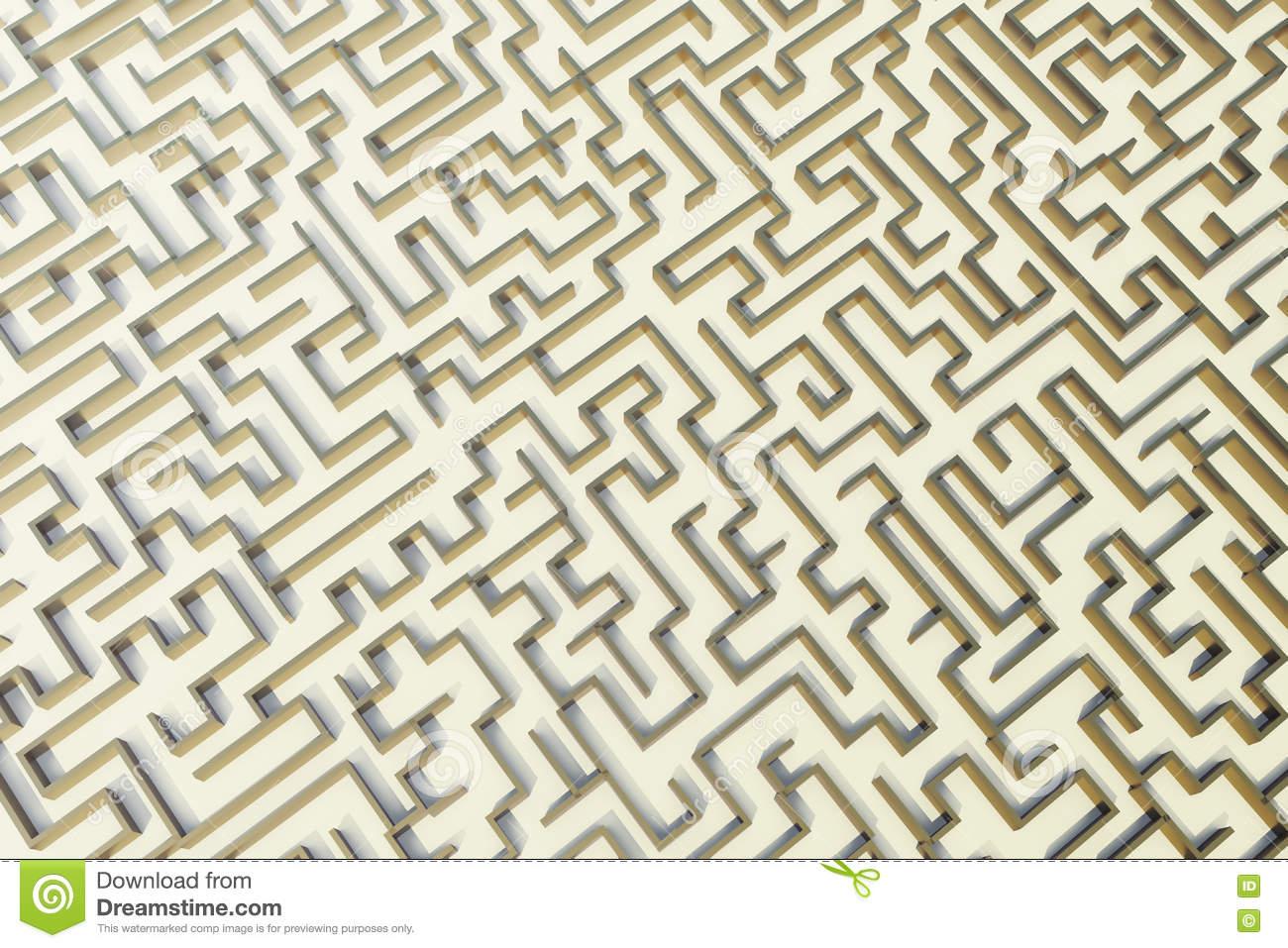 Labyrinth Der Illustration 3D Gold, Komplexes Lösen- Von in Labyrinth Lösen